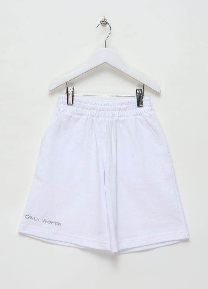 Шорты для девочек Only Women for girls белые удлиненные (лакоста) с серебристой вышивкой