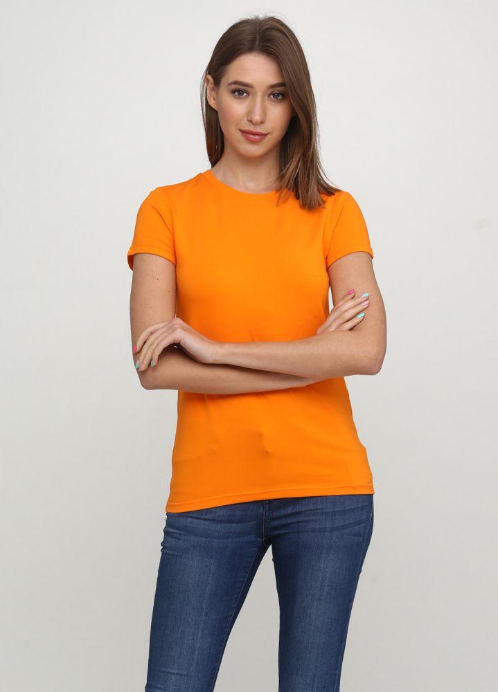 Футболка женская Only Women оранжевая с желтым лого сзади