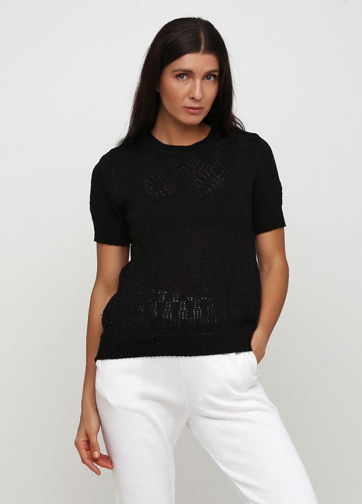 Блузка женская летняя Only Women чёрная с рукавом на резинке