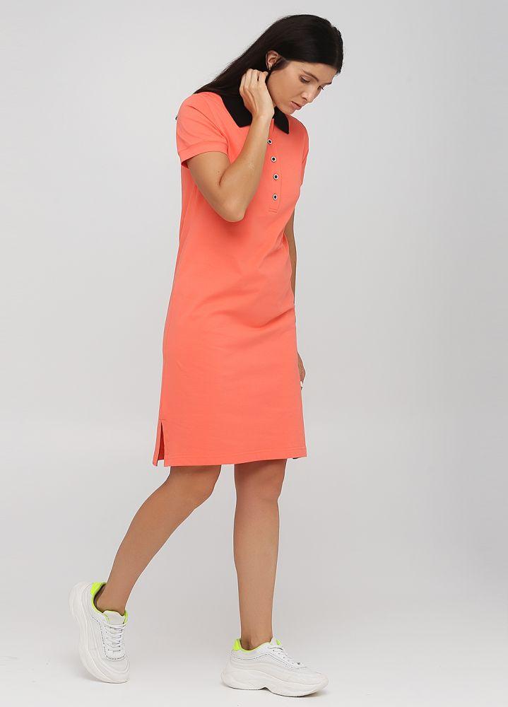 Платье Polo Only Women персиковое с черным воротником