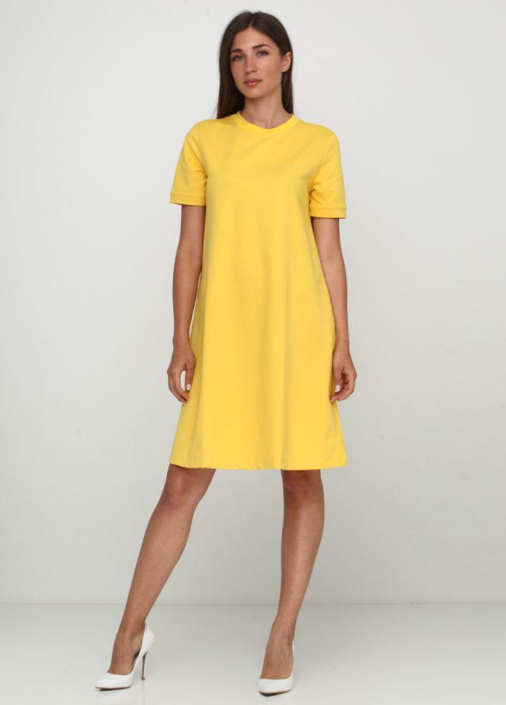 Желтое повседневное платье а-силуэт Only Women однотонное