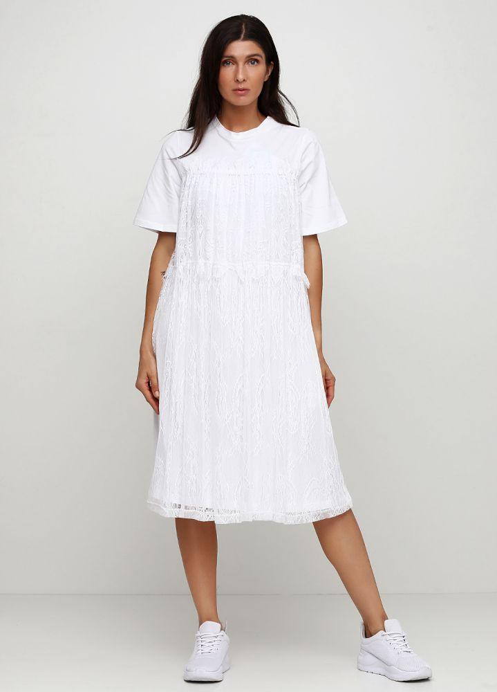 Платье белое Only Women с французским кружевом