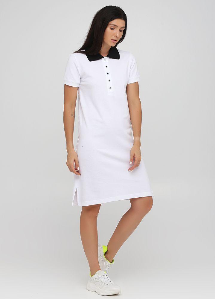 """Платье Polo женское белое """"Only Women"""" с черным воротником"""