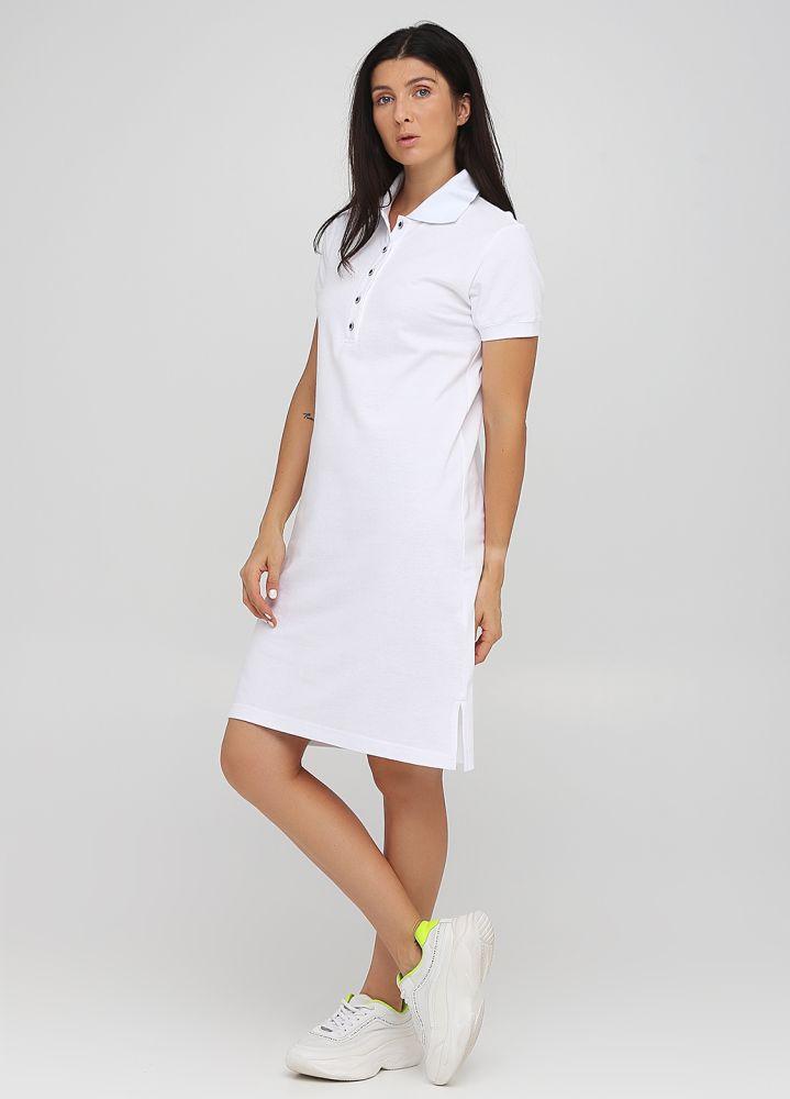 """Платье Polo женское белое """"Only Women"""" с белым воротником"""
