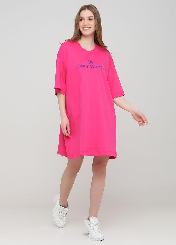 "Платье-футболка ""Only Women"" фуксия с электрик лого впереди"