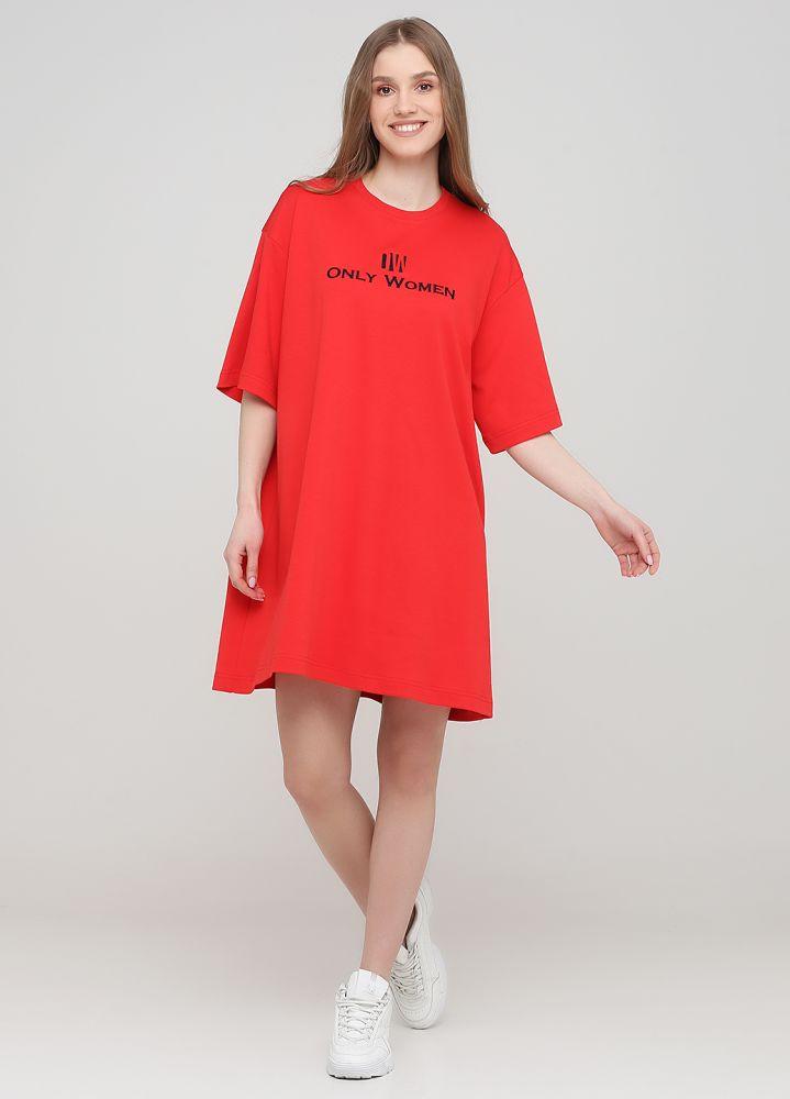 "Платье-футболка ""Only Women"" красное с темно-синим лого впереди"