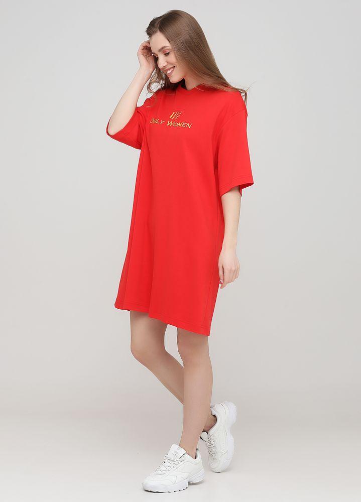 """Платье-футболка """"Only Women"""" красное с желтым лого впереди"""