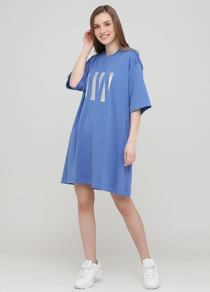 """Платье-футболка """"Only Women"""" стально-голубое с большим серебристым лого впереди"""
