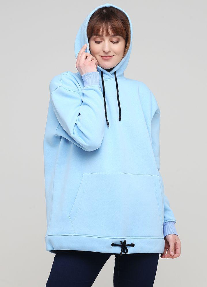 Худи женское зимнее Only Women светло-голубое c накладным карманом