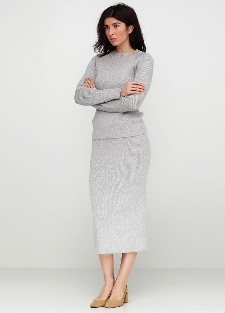Костюм женский серый Only Women (джемпер, юбка) из итальянской шерсти
