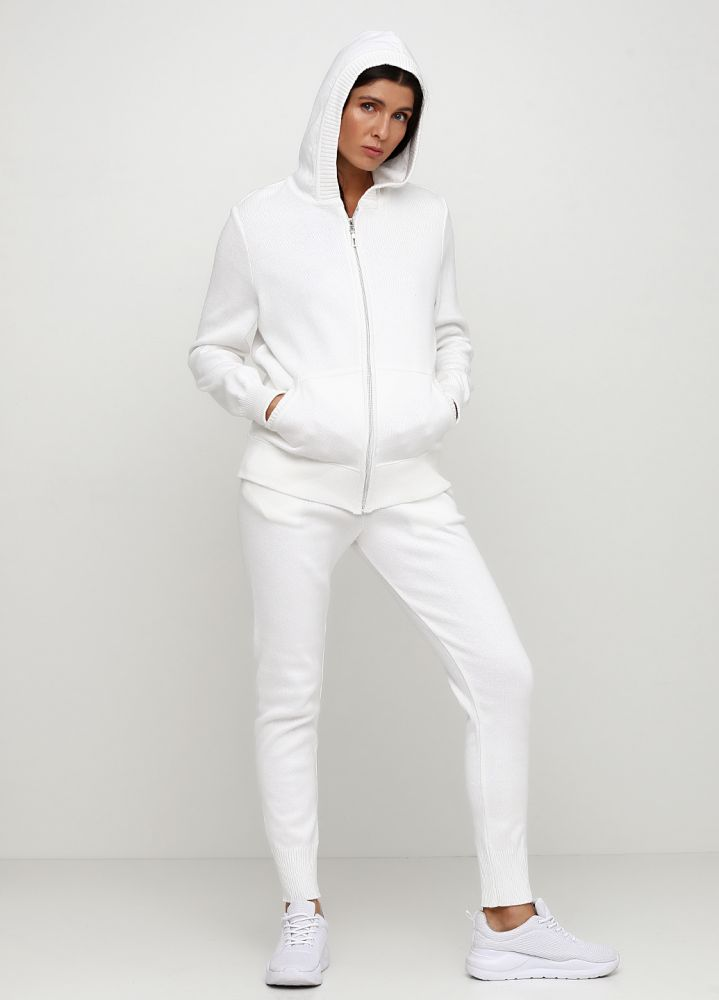 "Костюм (кофта, брюки) женский ""Only Women"" вязаный из хлопка белый"