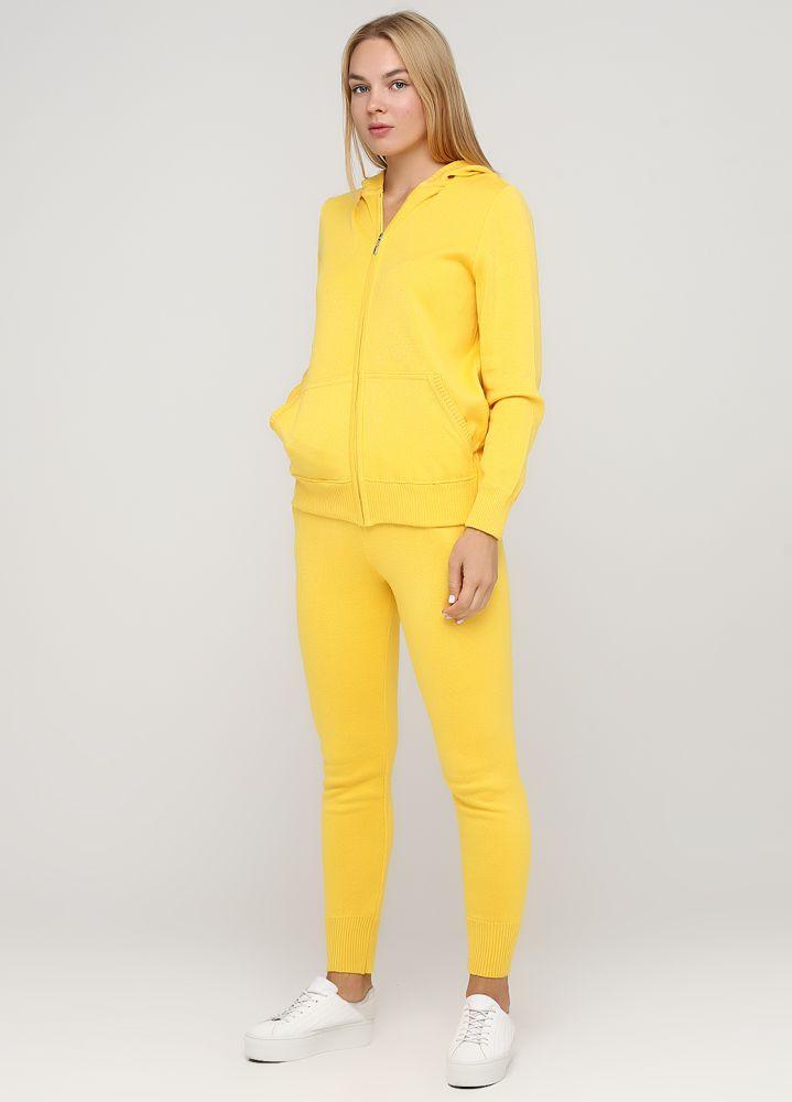 Костюм (кофта, брюки) женский Only Women вязаный из хлопка желтый
