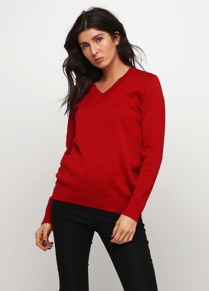 Пуловер женский Only Women вязаный красный из итальянской шерсти