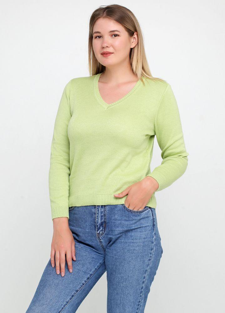 Пуловер женский Only Women вязаный салатовый из хлопка