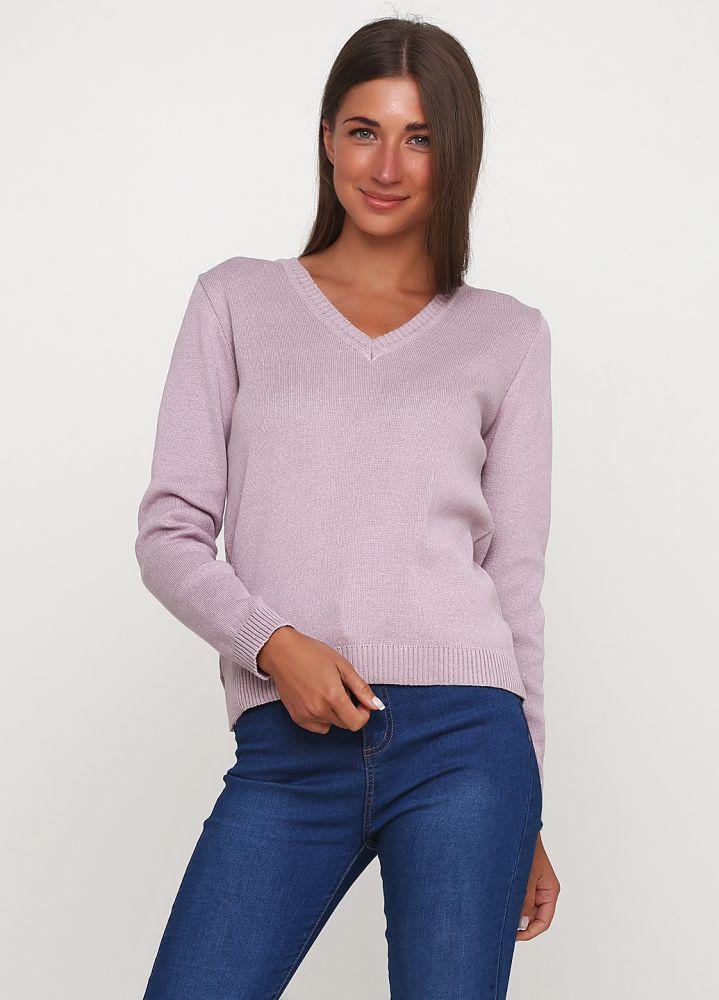 Пуловер женский Only Women вязаный сиреневый из хлопка