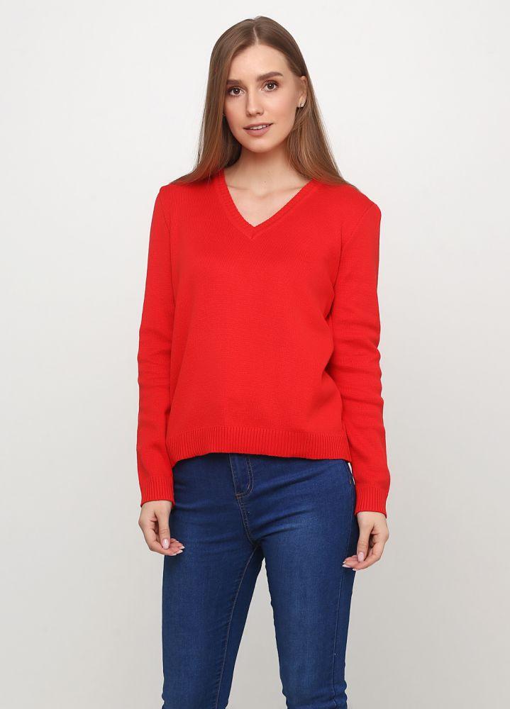 Пуловер женский Only Women вязаный красный из хлопка