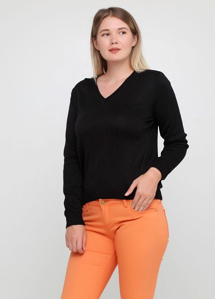 Пуловер женский Only Women вязаный черный (хлопок)