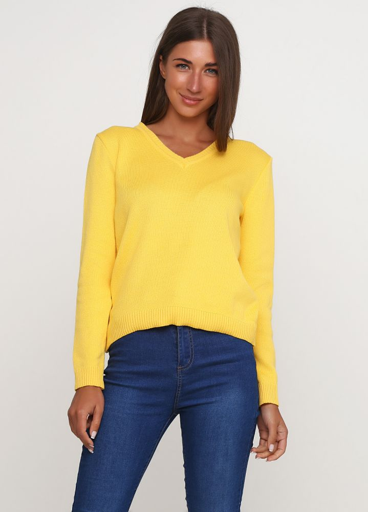 Пуловер женский Only Women вязаный желтый из хлопка