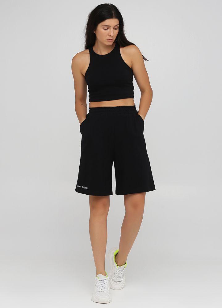 Шорты летние Only Women черные удлиненные (лакоста) с серебристой вышивкой