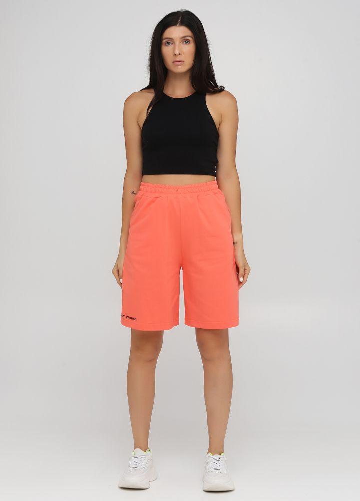 Шорты летние Only Women персиковые удлиненные (лакоста) с черной вышивкой впереди внизу