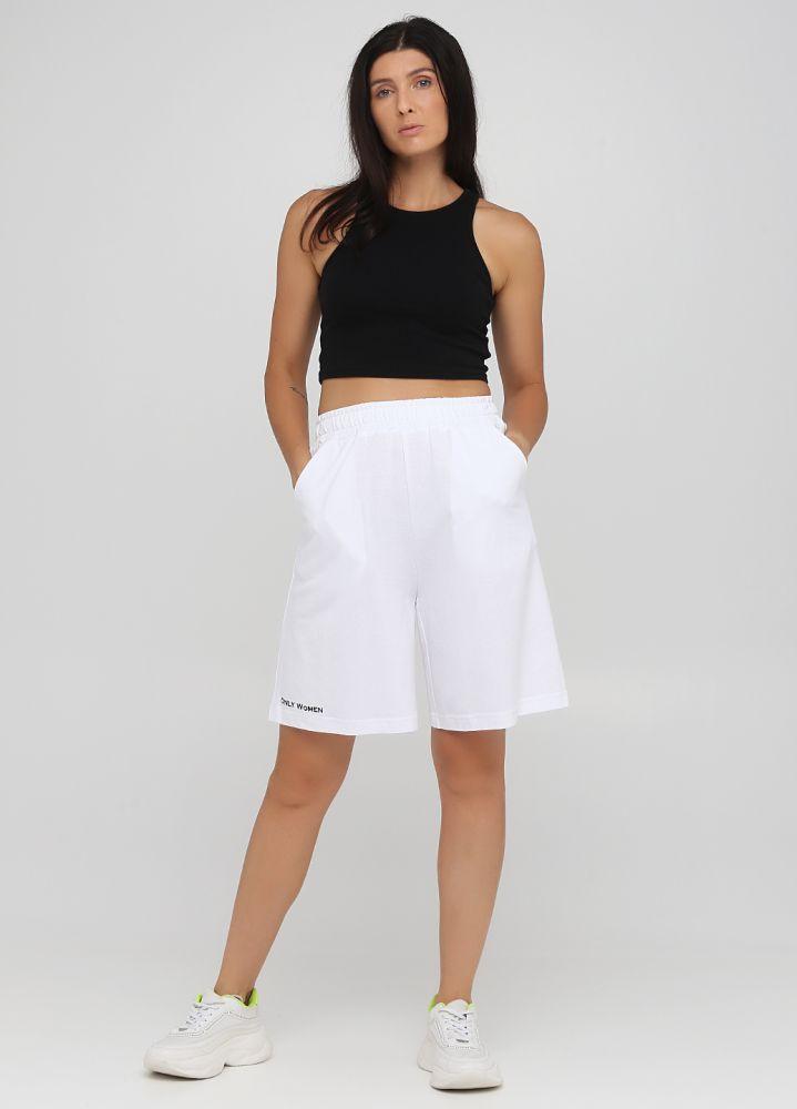 Шорты летние Only Women белые удлиненные (лакоста) с черной вышивкой впереди внизу