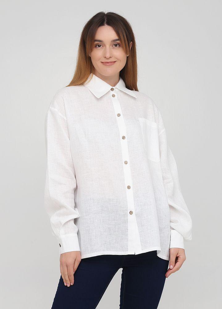 Рубашка женская Only Women белая из льна с пуговицами из бамбука