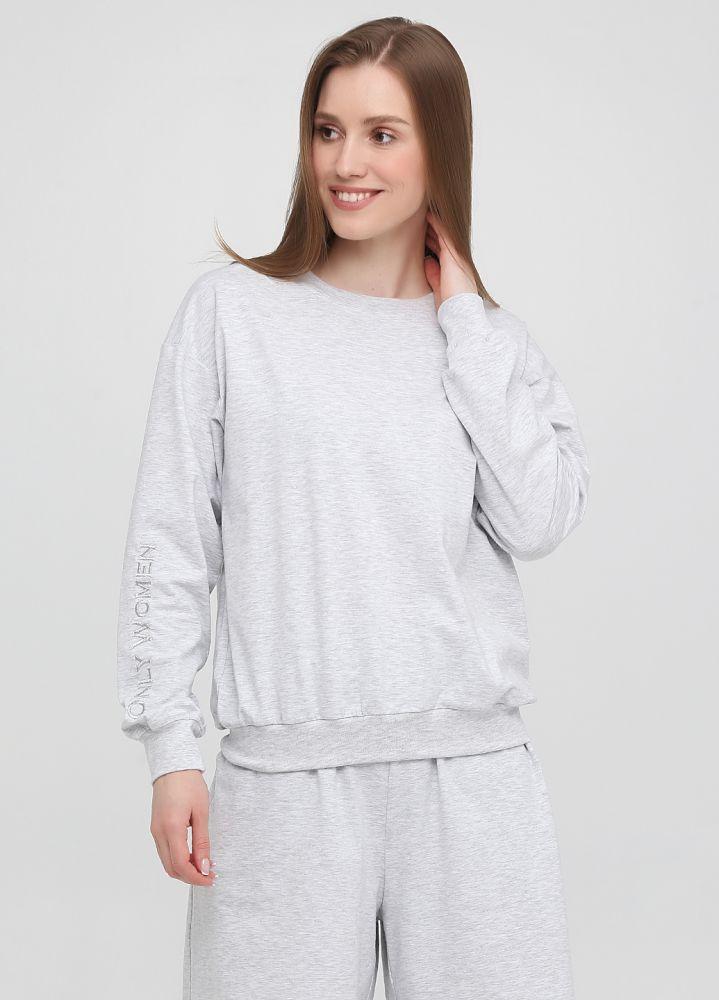 Свитшот женский летний Only Women  светло-серый с серебристой вышивкой на рукаве