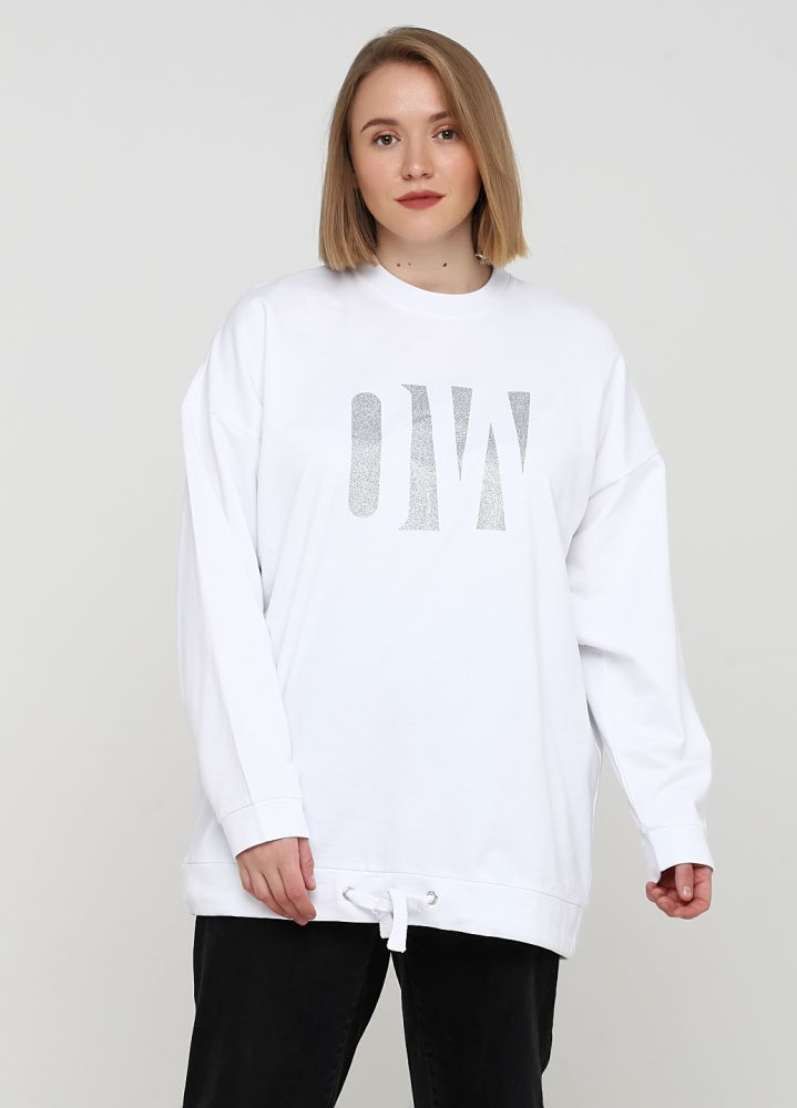 """Свитшот демисезонный """"Only Women"""" белый с большим серебр. лого впереди"""