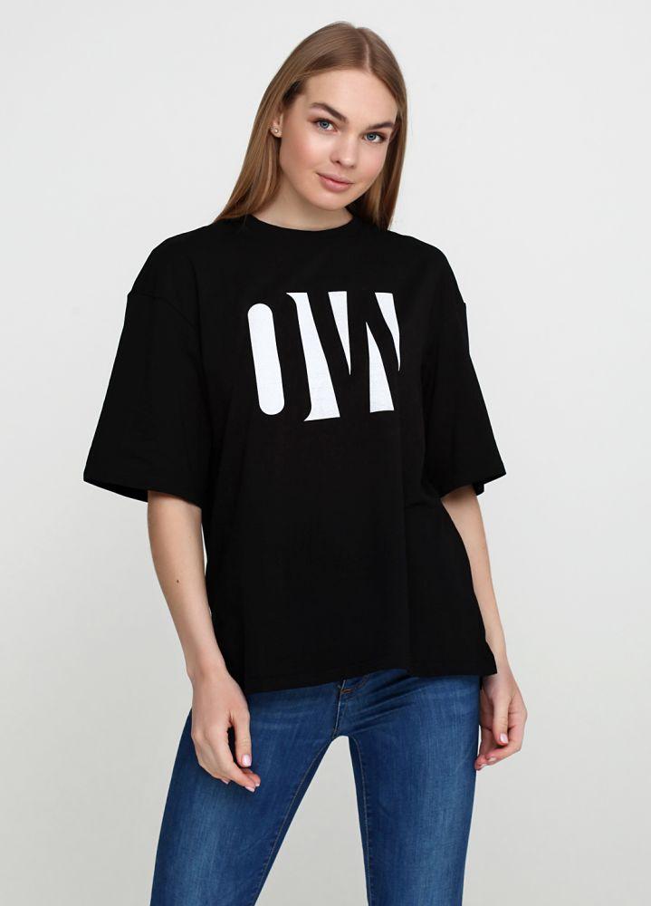 """Черная женская футболка """"Only Women"""" с большим белым логотипом"""