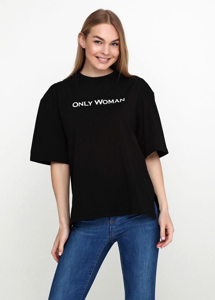 """Черная женская футболка """"Only Women"""" с надписью"""
