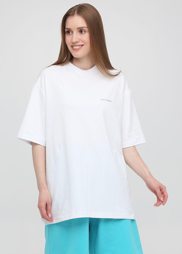 Футболка женская Only Women белая с голубой вышивкой на груди