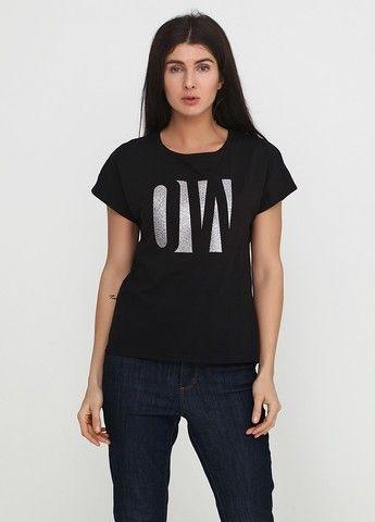 """Футболка женская """"Only Women"""" черная с большим серебристым лого впереди"""