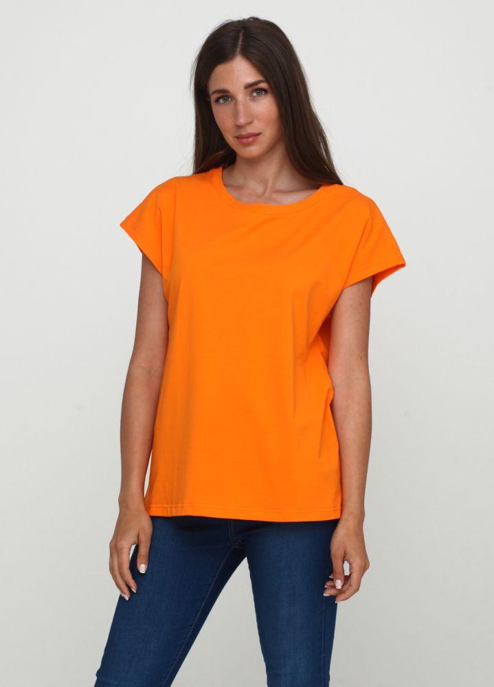 Футболка женская Only Women оранжевая с серебристым лого сзади