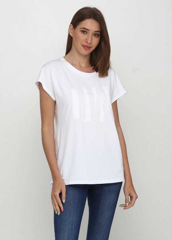 """Белая женская футболка """"Only Women"""" с большим белым лого впереди"""