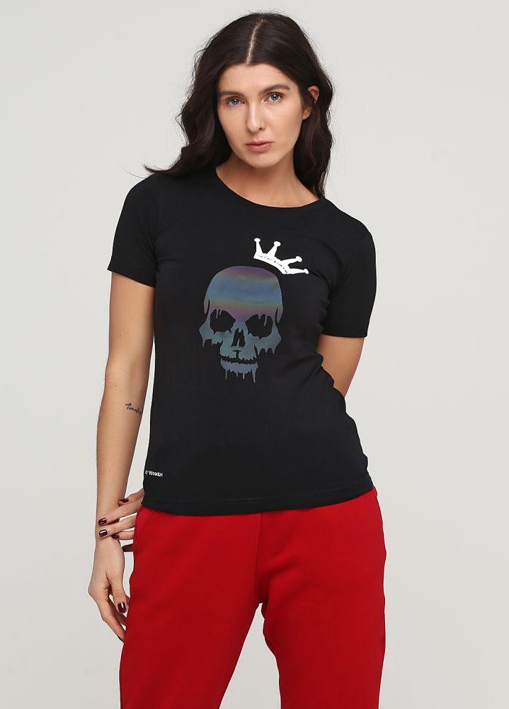 """Женская футболка """"Only Women"""" черная с черепом"""