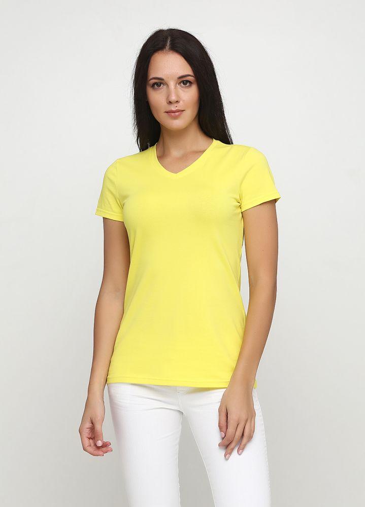 Футболка женская Only Women V желтая с желтым лого сзади