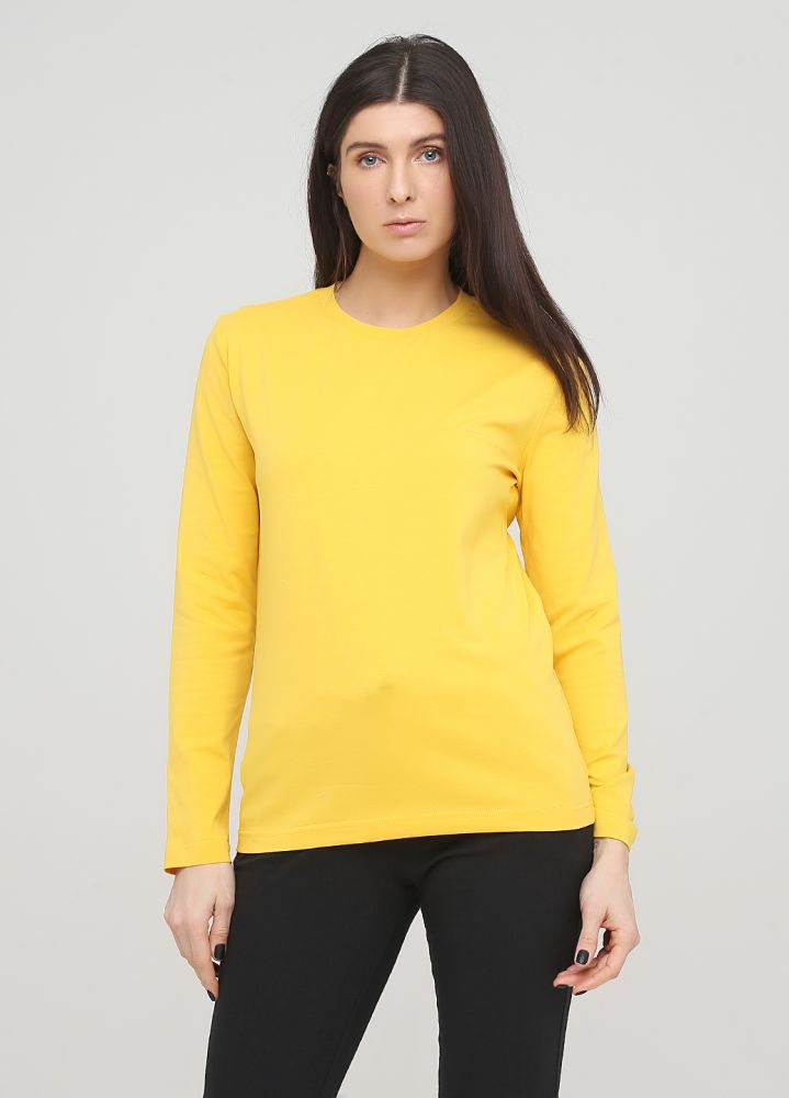 "Лонгслив ""Оnly Women"" желтый с желтым лого сзади"