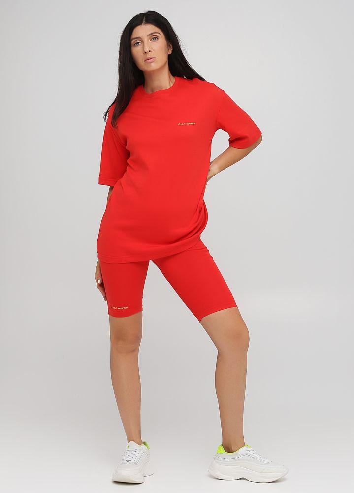 Капри женские Only Women красные с маленькой желтой вышивкой впереди
