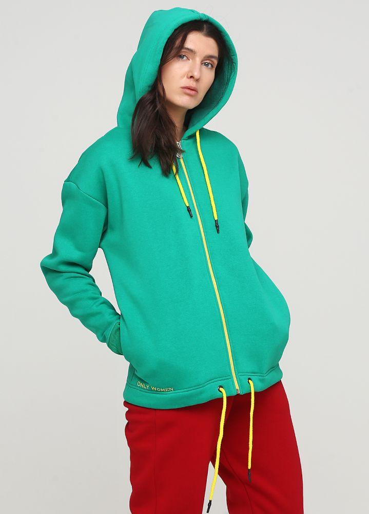 Толстовка женская зимняя Only Women зелёная с боковыми карманами