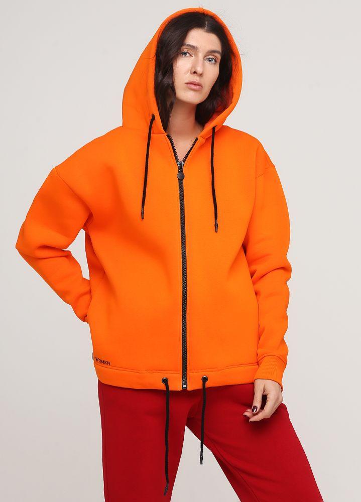 Толстовка женская зимняя Only Women оранжевая с боковыми карманами