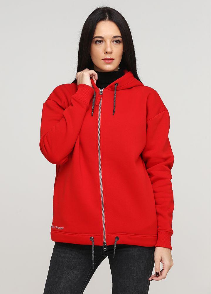 Толстовка женская зимняя Only Women красная с боковыми карманами