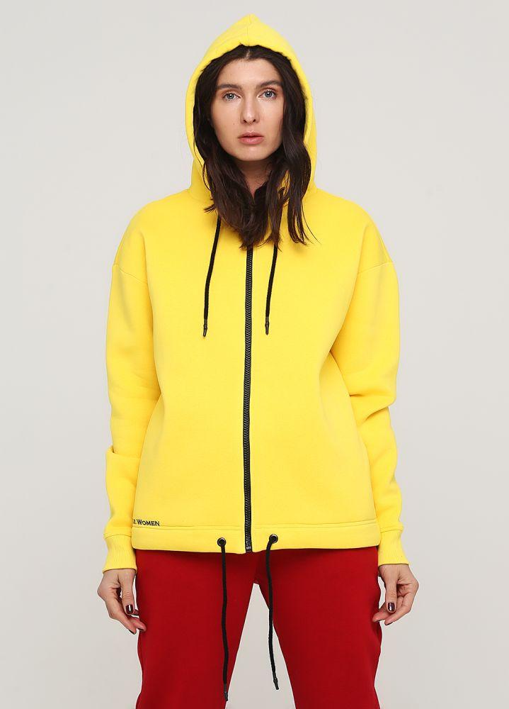 Толстовка женская зимняя Only Women жёлтая с боковыми карманами